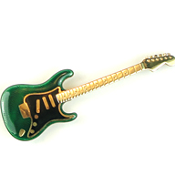 Leverington 18K & High Fire Enamel Guitar Brooch / Pin