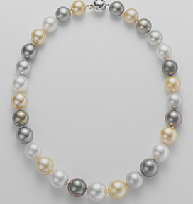 "Ladies White, Golden, & Black Tahitian Pearl Necklace, 17.5"" 18K White Gold Clasp has .30ct total diamond weight."