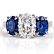 Leverington Handmade Platinum, Diamond & Sapphire Three Stone Engagement Ring
