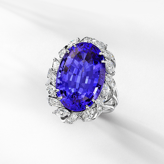 Leverington Platinum, Diamond & Tanzanite Ring