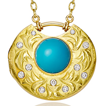 18K Diamond & Turquoise Locket