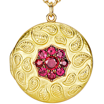 18K Yellow & Rose Gold Ruby Repousse Locket