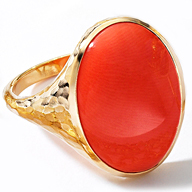Leverington 18K & Coral Ring