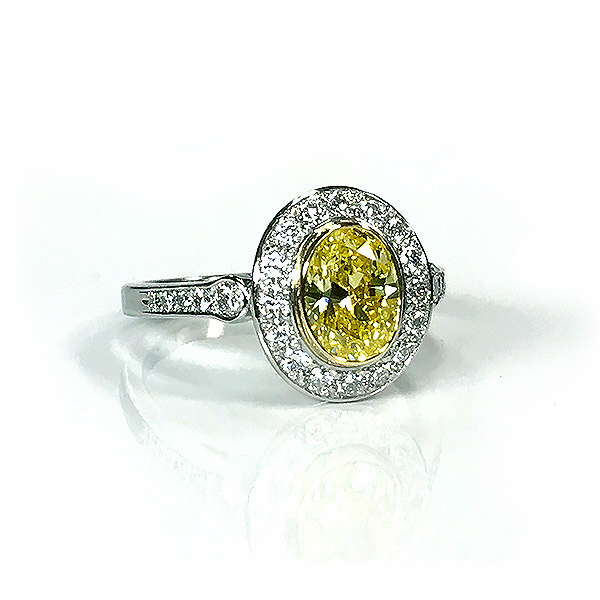 Leverington Platinum Diamond & Canary Diamond Ring