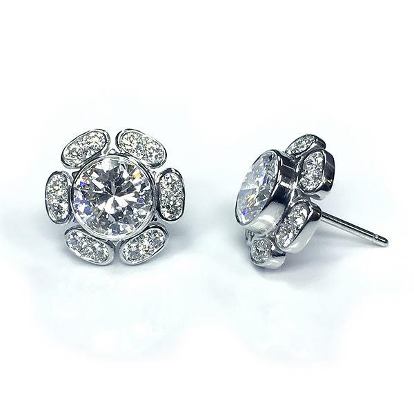 Handmade Platinum & 3.55 ct. Diamond Earrings
