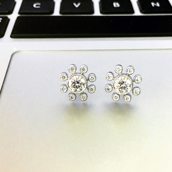 Handmade Platinum & 1.34 ct. Diamond Earrings