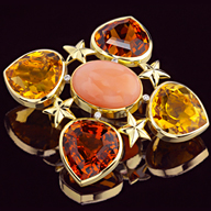 Leverington One Of A Kind 18K Coral Diamond Citrine Brooch